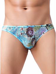 cheap -Men's Lace / Print Briefs Underwear - Normal Low Waist Black Blue Purple M L XL