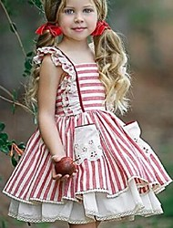 cheap -Kids Toddler Girls' Active Cute White Striped Lace up Sleeveless Above Knee Dress Red