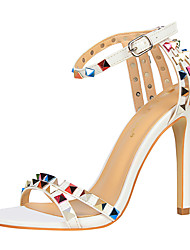 cheap -Women's Sandals Sexy Shoes Stiletto Heel Open Toe High Heel Sandals Daily PU Rivet Solid Colored Nude White Black