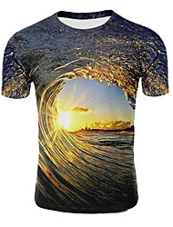 cheap -Men's Galaxy 3D Graphic Plus Size T-shirt Print Short Sleeve Daily Tops Round Neck Light Purple Light Brown Dark Green / Summer
