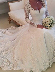 cheap -A-Line Wedding Dresses V Neck Chapel Train Lace Tulle Long Sleeve Country with 2021