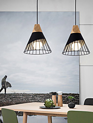 cheap -Modern Dining Room Living Room Study Solid Wood Conical Horn Wrought Iron Pendant Lamp