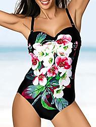 cheap -Women's One Piece Swimsuit Floral White Black Swimwear Bathing Suits
