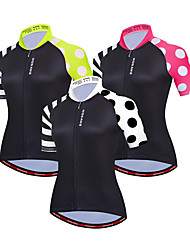 cheap -WOSAWE Women's Short Sleeve Cycling Jersey Black Red Green Dot Solid Color Patchwork Bike Jersey Top Mountain Bike MTB Road Bike Cycling Windproof Breathable Quick Dry Sports Clothing Apparel