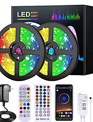 cheap -5M 10M 15M 20M RGB LED Strip Lights Music Sync 12V Waterproof LED Strip 2835 SMD Color Changing LED Light with Bluetooth Controller and 100-240V Adapter for Bedroom Home TV Back Light DIY Deco
