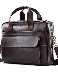 cheap -Men's Bags Cowhide Laptop Bag Briefcase Top Handle Bag Belt Zipper Handbags Daily Office & Career Coffee