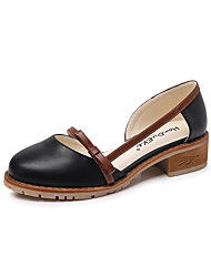 cheap -Women's Heels Chunky Heel Round Toe Classic Daily PU Solid Colored Almond Black