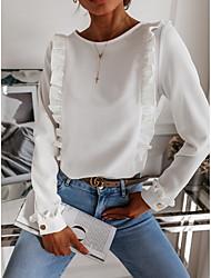 povoljno -Žene Bluza Majica Jednobojni Nabori Dugme Okrugli izrez Tops Osnovni Jesen Obala Crn Blushing Pink
