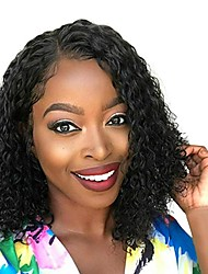cheap -Human Hair Lace Front Wig Side Part style Peruvian Hair Loose Curl Black Wig 130% Density Classic Women Fashion Women's Short Human Hair Lace Wig Clytie