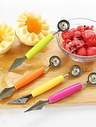 cheap -Fruit Digging Ball Spoon Corrugated Carving Cutter Double Head Stainless Steel