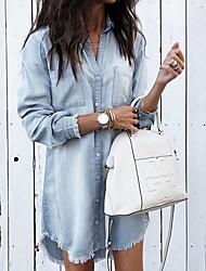 cheap -Women's Blouse Shirt Solid Colored Long Sleeve Shirt Collar Tops Light Blue