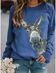 Χαμηλού Κόστους -Γυναικεία T-shirt Ζώο Άριστος Στρογγυλή Λαιμόκοψη Καθημερινά Θαλασσί Ρουμπίνι Κίτρινο Τ M L XL 2XL