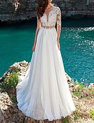 cheap -A-Line Wedding Dresses Jewel Neck Sweep / Brush Train Chiffon Lace Long Sleeve Beach with Pleats Appliques 2021