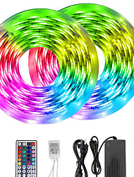 cheap -10m LED Light Strips RGB Tiktok Lights 5050 10mm LED Tape Non-waterproof DC 12V 600leds with 44key IR Remote Controller Kit