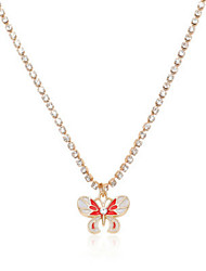 cheap -Women's Blue Green Red Cubic Zirconia Pendant Necklace Classic Butterfly Animal Simple European Zircon Alloy Blue Yellow Red Green Light Blue 51-80 cm Necklace Jewelry For Party Evening Gift