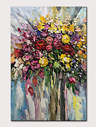 cheap -Mintura Hand Painted Abstract Flowers Oil Painting on Canvas Modern Wall Picture Pop Art Posters For Home Decoration Ready To Hang With Stretched Frame