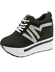 cheap -Women's Sneakers Spring Fall Hidden Heel Round Toe Casual Daily Outdoor Canvas Black / Red