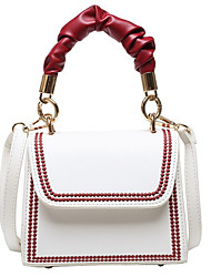 cheap -Women's Zipper PU Leather Top Handle Bag Handbags White / Black / Blue