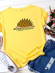 povoljno -Žene Majica s rukavima Životinja Slovo Print Okrugli izrez Tops 100% pamuk Osnovni Ljeto Lila-roza Obala Bijela