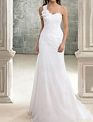 cheap -Mermaid / Trumpet Wedding Dresses One Shoulder Sweep / Brush Train Chiffon Sleeveless Simple with Appliques 2021