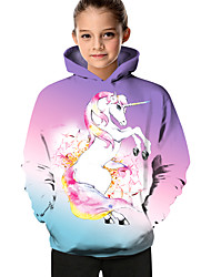 cheap -Kids Toddler Girls' Active Basic Unicorn Geometric Color Block Animal Print Long Sleeve Hoodie & Sweatshirt Purple