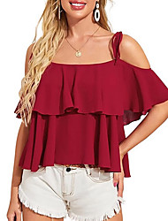 cheap -Women's Blouse Solid Colored Tops Off Shoulder Daily Summer Red S M L XL