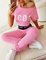 cheap -Women's Basic Letter Two Piece Set Tracksuit Set Pant Loungewear Print Tops