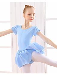 cheap -Ballet Dress Ruffles Split Girls' Training Performance Short Sleeve Natural Cotton