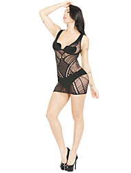 cheap -Women's Backless Mesh Babydoll & Slips Bodysuits Nightwear Jacquard Solid Colored White / Black / Purple One-Size / Strap