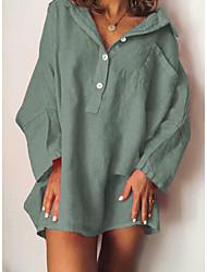 Χαμηλού Κόστους -Γυναικεία Φόρεμα ριχτό Μίνι φόρεμα - Μακρυμάνικο Συμπαγές Χρώμα Καλοκαίρι Καθημερινό Καθημερινά 2020 Πράσινο του τριφυλλιού M L XL XXL XXXL