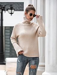 billige -Dame Ensfarvet Langærmet Pullover Sweater Jumper, Rullekrave Vinter Gul / Kakifarvet En Størrelse