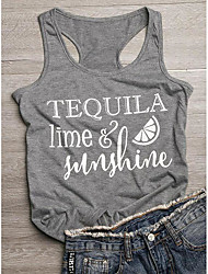 cheap -Women's T-shirt Graphic Prints Letter Print Round Neck Tops Slim 100% Cotton Basic Basic Top Dark Gray