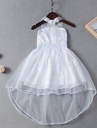 cheap -Kids Girls' Active Cute White Solid Colored Bow Sleeveless Knee-length Dress White