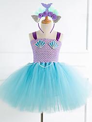 cheap -Kids Little Girls' Dress The Little Mermaid Rainbow Cartoon Halloween Beaded Mesh Patchwork Purple Lavender Light Blue Knee-length Sleeveless Streetwear Sophisticated Cute Dresses Christmas Regular