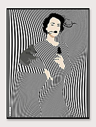 cheap -Framed Art Pop Cartoon Canvas Printing Modern Black And White Striped Fashion Models PS Oil Painting  Wall Art Suitable for Living Room Decoration Ready To Hang 1 Piece