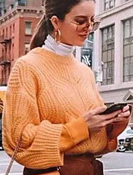 cheap -Women's Solid Colored Long Sleeve Pullover Sweater Jumper, Crew Neck Orange S / M / L