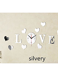 cheap -3D Wall Clock DIY Sticker Modern Home Decor Silver Mirror for Bedroom Living Room Office Kitchen Bar