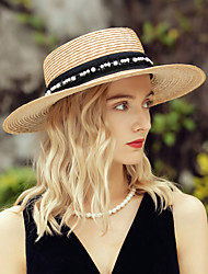 cheap -Classic Casual Natural Fiber Straw Hats with Pearls 1pc Casual / Daily Wear Headpiece