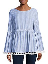 cheap -Women's Blouse Striped Tassel Round Neck Tops Fall Gray Light Blue
