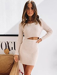 cheap -Women's Basic Solid Colored Two Piece Set Sweater Skirt Tops / Short