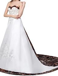 זול -גזרת A שמלות חתונה סטרפלס שובל קורט סאטן ללא שרוולים פורמאלי חוף עם 2020