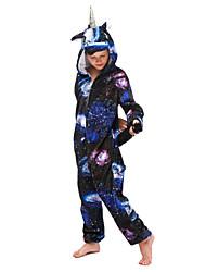 cheap -Kid's Kigurumi Pajamas Unicorn Flying Horse Onesie Pajamas Flannel Fabric Ink Blue Cosplay For Boys and Girls Animal Sleepwear Cartoon Festival / Holiday Costumes / Leotard / Onesie