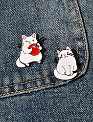 cheap -Women's Brooches Geometrical Cat Animals Cute Brooch Jewelry White For Vacation Birthday Party / 2pcs