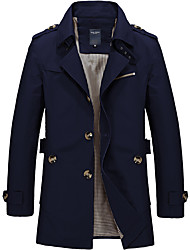 cheap -Men's Winter Stand Collar Coat Regular Solid Colored Practice Streetwear Plus Size Long Sleeve Black Army Green Brown Navy Blue XS S M L