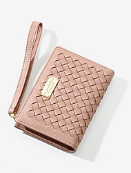 cheap -Women's Zipper PU Leather Wallet 2020 Black / Red / Blushing Pink