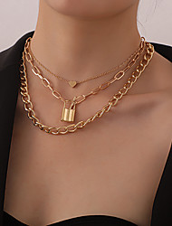 cheap -Women's Pendant Necklace Chain Necklace Necklace Stacking Stackable Heart Simple Classic Vintage Trendy Chrome Gold Silver 55.5 cm Necklace Jewelry 2pcs For Anniversary Party Evening Prom Street