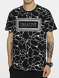 cheap -Men's Abstract Letter T shirt Sequins Short Sleeve Daily Tops Cotton Basic Round Neck White Black