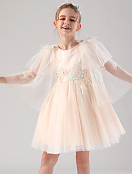 cheap -Princess / Ball Gown Royal Length Train / Medium Length Event / Party / Birthday Flower Girl Dresses - Satin / Tulle 3/4 Length Sleeve Jewel Neck with Feathers / Fur / Appliques / Butterfly