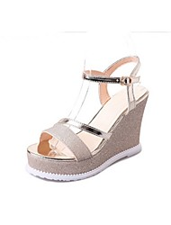 cheap -Women's Sandals Summer Wedge Heel Open Toe Daily Solid Colored PU Black / Gold / Silver