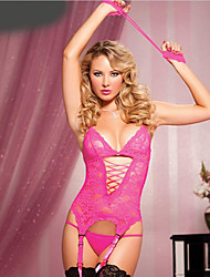 cheap -Women's Lace Backless Mesh Gartered Lingerie Matching Bralettes Suits Nightwear Embroidered Black / Red / Fuchsia One-Size
